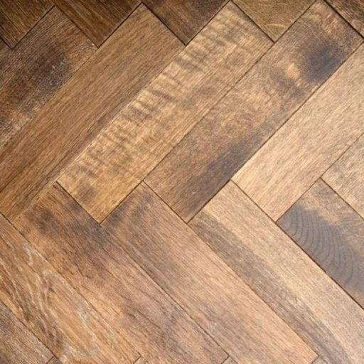 V4 Tannery Brown Engineered Oak Parquet Flooring, Rustic, Distressed, Stained, Handfinished & UV Oiled, 90x15x360 mm Image 4
