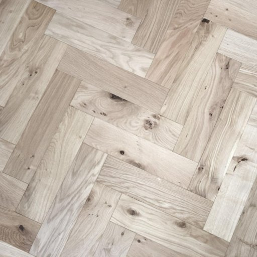 V4 Unfinished Engineered Oak Parquet Flooring, Smooth Sanded, Rustic, 90x15x360 mm Image 1