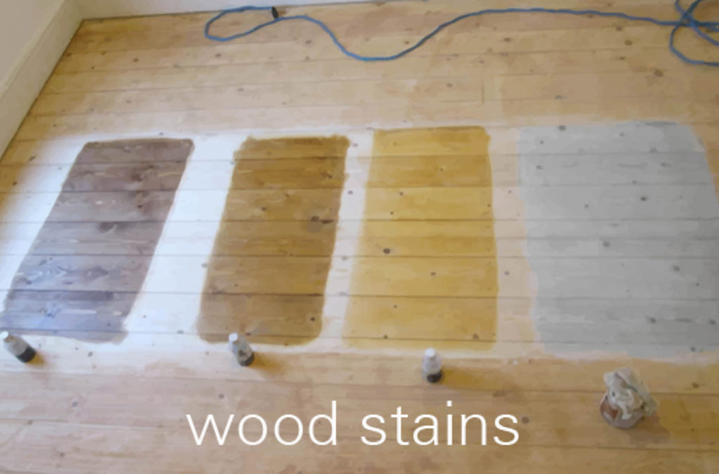 A sample area of wood floor stains