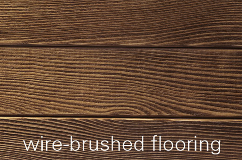 a sample of wire-brushed wood flooring