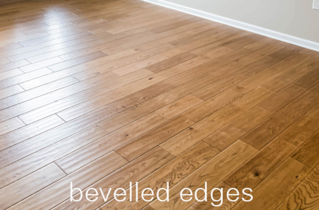 An example of wood flooring with  bevelled edges