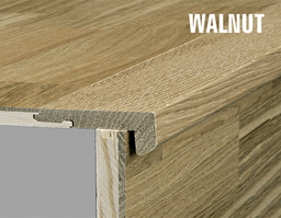 Kahrs Walnut Solid Stair Nosing for 15 mm Woodloc, Satin Lacquered, 35x60x1830 mm
