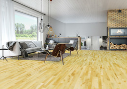 Junckers Beech Solid 2-Strip Wood Flooring, Silk Matt Lacquered, Variation, 129x22 mm