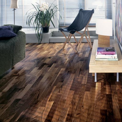 Kahrs Hartford Walnut Engineered 3-Strip Wood Flooring, Lacquered, 200x3.5x15 mm