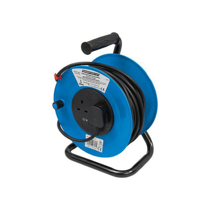 Silverline Free-Standing Cable Reel, 2 Sockets, 13 A, 25 m