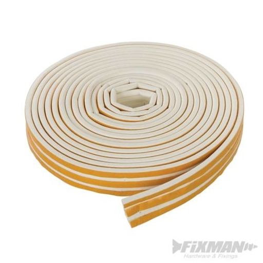 Self-Adhesive P-Profile Weather Strip, White, 15 m
