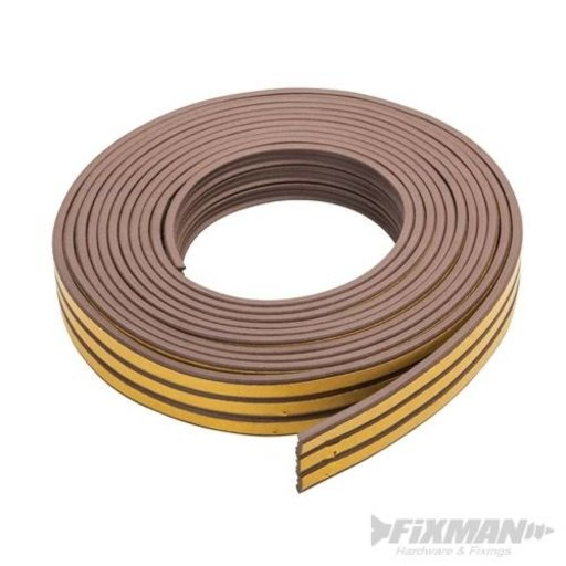 Self-Adhesive P-Profile Weather Strip, Brown, 15 m