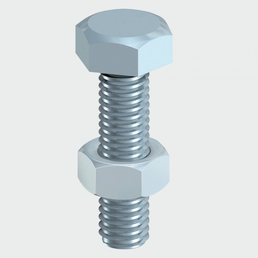 Hex Bolt & Nut, 6x50 mm, 4 pk