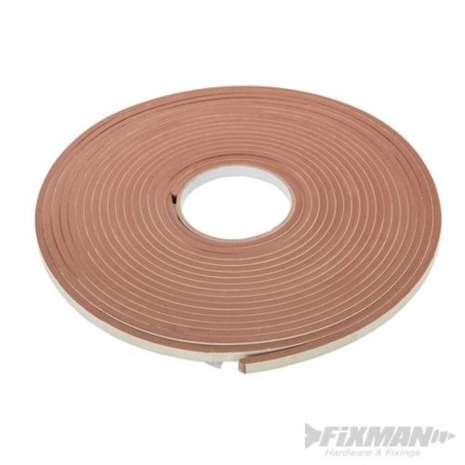 Self-Adhesive E-Profile Weather Strip, Brown, 15 m