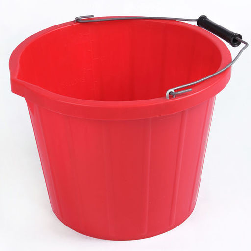 Plastic Bucket, Red, 5 L