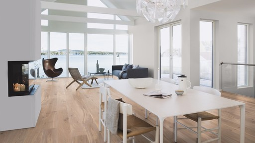 Boen Oak Andante Engineered Flooring, White, Live Natural Oiled, 138x3.5x14 mm