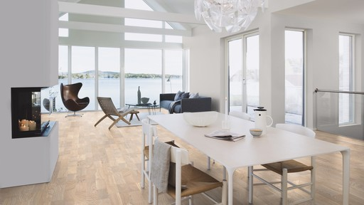Boen Concerto Oak White Engineered 3-Strip Flooring, Live Natural Oiled, 215x3x14 mm