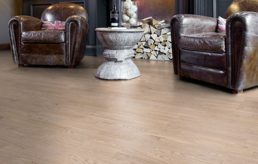 Boen Andante Oak White Engineered 3-Strip Flooring, Matt Lacquered, 215x3x14 mm