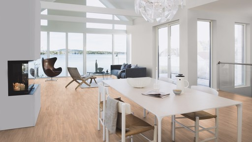 Boen Prestige Oak Parquet Flooring, White, Matt Lacquered, 10x70x590 mm