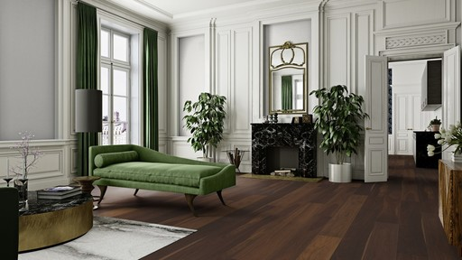 Boen Marcato Smoked Oak Engineered Flooring, Live Satin Lacquered, 14x209x2200 mm