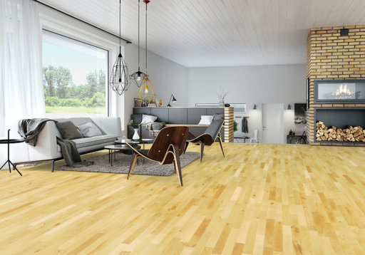Junckers Beech Solid 2-Strip Wood Flooring, Silk Matt Lacquered, Harmony, 129x14 mm