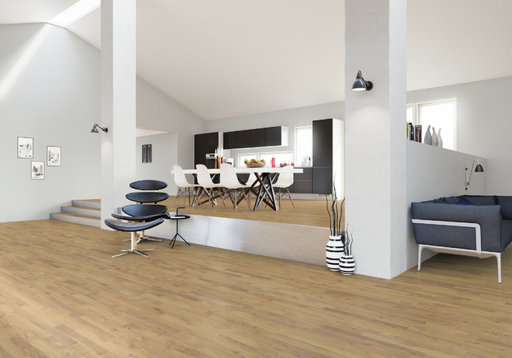 Junckers Solid Nordic Oak 2-Strip Flooring, Matt Lacquer, Harmony, 129x22 mm