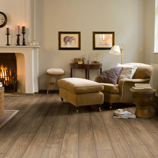 QuickStep Impressive Ultra Scraped Oak Grey Brown Laminate Flooring, 12 mm