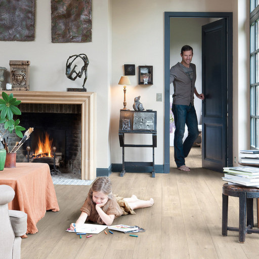 QuickStep Impressive Ultra Saw Cut Oak Beige Laminate Flooring, 12 mm