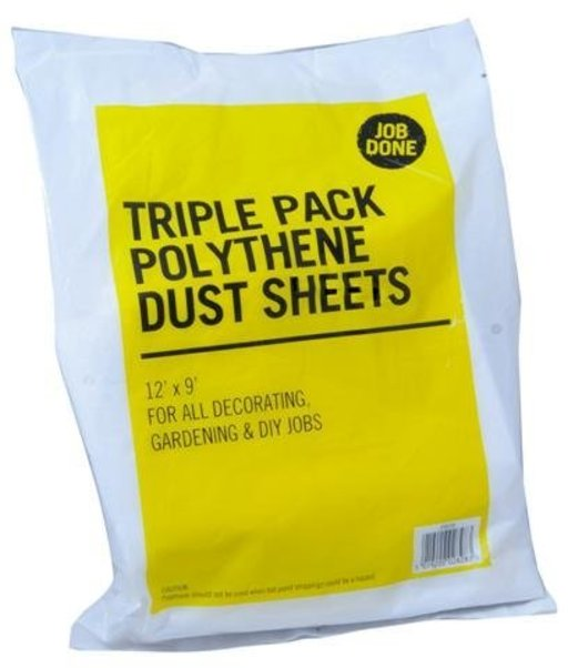 Triple Pack Polythene Dust Sheets, 3.7 x 2.7 m