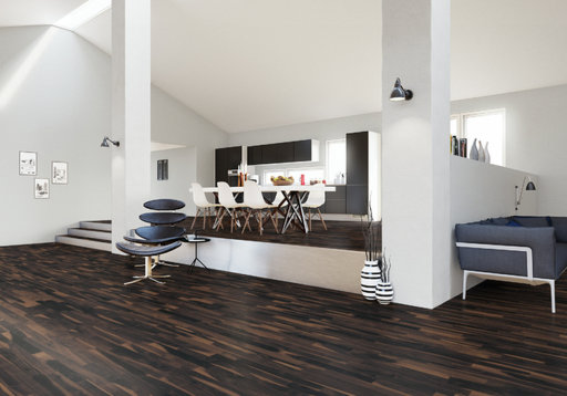 Junckers Solid Black Oak 2-Strip Flooring, Untreated, Variation, 129x22 mm