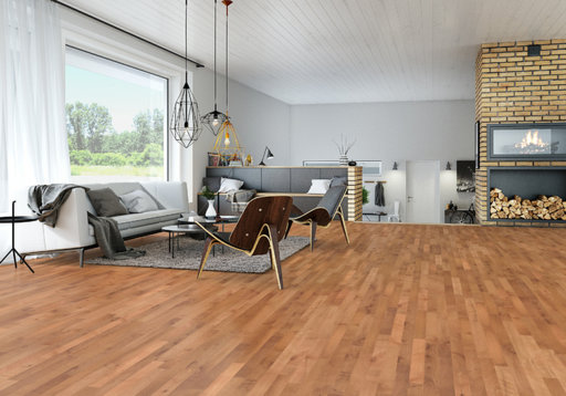 Junckers Beech SylvaRed Solid 2-Strip Wood Flooring, Silk Matt Lacquered, Harmony, 129x14 mm