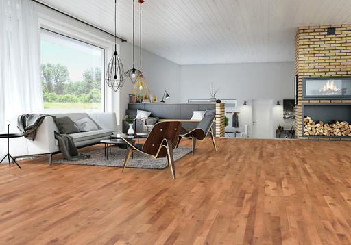Junckers Beech SylvaRed Solid 2-Strip Wood Flooring, Silk Matt Lacquered, Variation, 129x22 mm