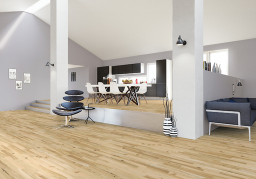 Junckers Light Ash Solid 2-Strip Wood Flooring, Ultra Matt Lacquered, Variation, 129x22 mm