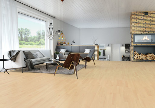 Junckers Nordic Beech Solid 2-Strip Wood Flooring, Ultra Matt Lacquered, Classic, 129x14 mm