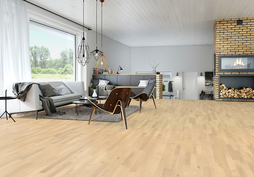Junckers Nordic Beech Solid 2-Strip Wood Flooring, Ultra Matt Lacquered, Classic, 129x22 mm