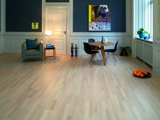 Junckers Nordic Beech Solid 2-Strip Wood Flooring, Ultra Matt Lacquered, Harmony, 129x14 mm