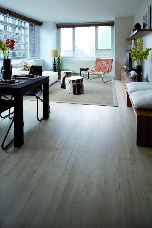 Junckers Nordic Light Ash 2-Strip Solid Wood Flooring, Ultra Matt Lacquered, Classic, 129x14 mm