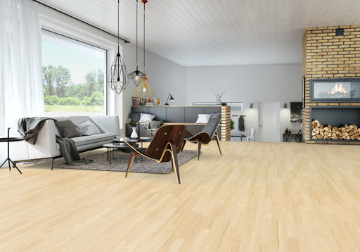 Junckers Nordic Light Ash 2-Strip Flooring, Ultra Matt Lacquered, Classic, 129x22 mm
