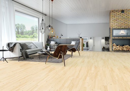 Junckers Nordic Light Ash 2-Strip Solid Wood Flooring, Ultra Matt Lacquered, Variation, 129x14 mm