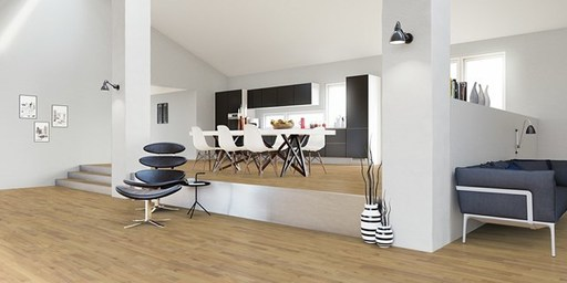 Junckers Solid Nordic Oak 2-Strip Flooring, Ultra Matt Lacquered, Classic, 129x14 mm