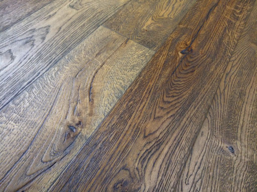 Tradition Antique Oak Engineered Flooring, Rustic, Distressed, Brushed, Dark Brown, 1900x20x190 mm