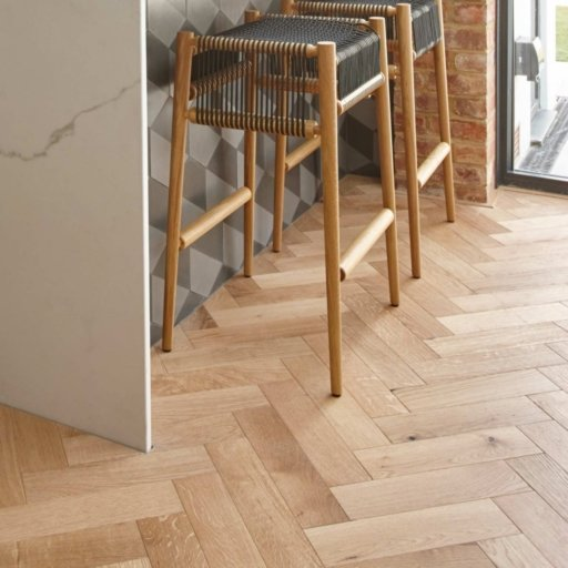 V4 Engineered Oak Parquet Flooring, Rustic, Brushed & Matt Lacquered, 90x15x360 mm