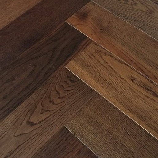 Elka Dark Smoked Oak Herringbone Engineered Flooring 14x3x600 Mm